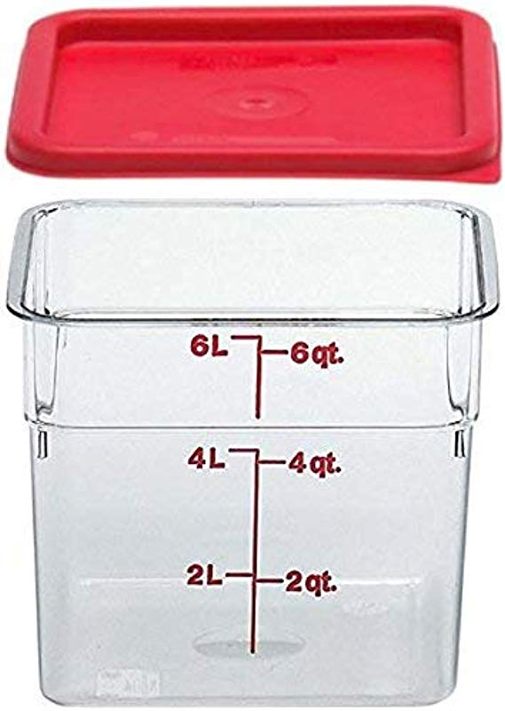 Cambro SFC6451 Li 6SFSCW135 Camsquare Food Container 6 Quart Polycarbonate Clear NSF With Lid 6 Qt