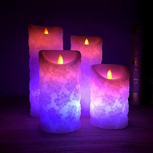 Yiwa Elektrische kaars, reliëf, romantisch, LED, voor decoratie thuis, bruiloftstang, afstandsbediening met 18 toetsen