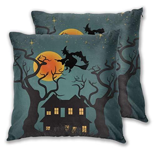 Juego de 2 fundas de cojín con diseño de abanicos artísticos de Halloween con cielo nocturno y bruja voladora, cuadradas, fundas de almohada para sofá, silla, sofá o dormitorio, fundas de almohada decorativas