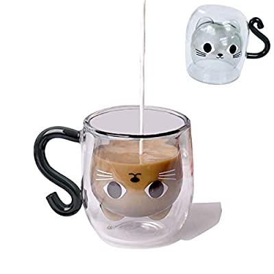 Growom Cute Cat Mug Best Gift Tea Glass Cup Double-layer Glass High Temperature Resistant High Borosilicate glass Cup Latte Cappuccino Christmas Glass