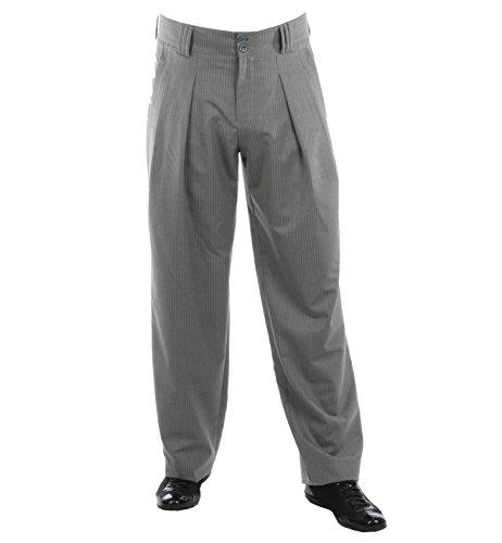 H K Mandel Pantalon Homme rayé Gris en Coupe Carotte avec Jambes Extra Larges, Pantalon Homme Oversize avec Plis, Pantalon Homme Style années 50 Model Boogie Taille 44/34