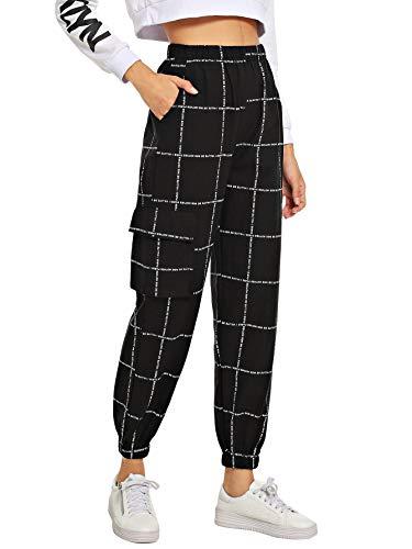 Milumia Women's Pocket Decoration Letter Print Elastic Waist Carrot Cargo Loose Pants Crop Black S