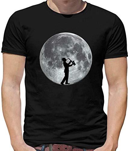Saxofoon speler Moon Mens T-Shirt Sax muzikant jazz muziek