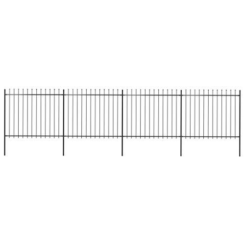 WWZH Metal Garden Fence Border Animal Barrier Fence-Spear End 267.7'x59.1'