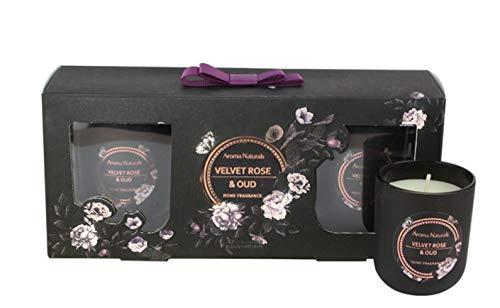 Lifestyle & More Set de Velas perfumadas Noir 3 Piezas | Velvet Rose & Oud | Altura 6.5 cm, Ø 5.5 cm | Peso de Cera 3 x 64 gr Tiempo de combustión 14-17 Horas | Ecológico y 100% Cera de Soja