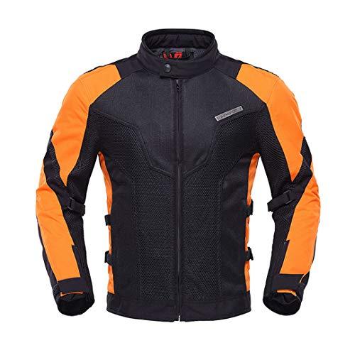 Chaqueta de Motocicleta de los Hombres + Pantalones de Motocicleta Traje de Motocicleta Transpirable Moto con Protector 183 Orange Jacket XL