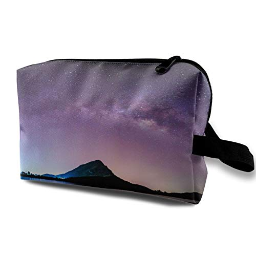 Travel Cosmetic Bag Portable,Night Landscape Mountain Milkyway Galaxy Background,for Women Girls Multifunctional Storage Toiletry Case