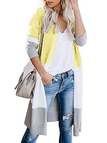 Cardigan Damen Strickjacke Lang Grobstrick Strick Cardigan Oversize Open Front Knitwear OffeneStrickjacke, B-Gelb, L