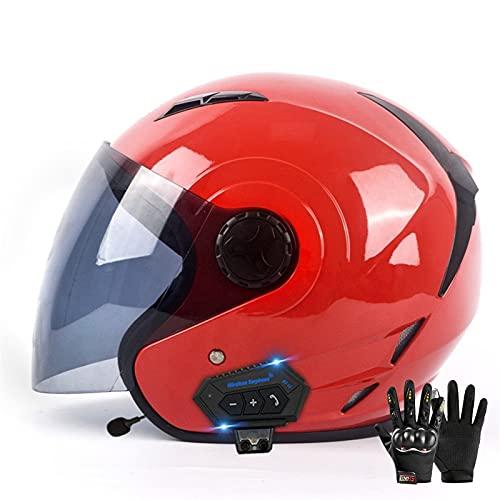 Bdsjjy Bluetooth Casco Moto Jet,Casco Moto Mujer y Hombre Adultos con Visera,Casco Moto Abierto para Mofa Crash Cruiser Chopper Scooter Biker,ECE Homologado (Color : H, Size : (M/57-58CM))