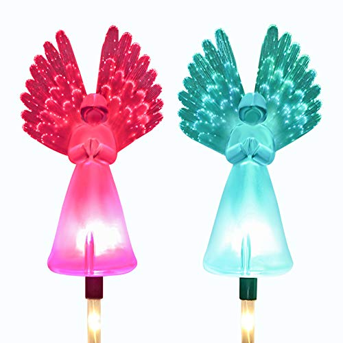 Kearui - Juego de 2 luces solares para exteriores con luces decorativas de fibra óptica de ángel, luces solares LED que cambian de color para decoración de patio, regalos de jardín