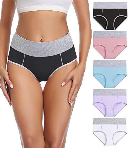 wirarpa Bragas Talle Alto Algodón para Mujer Culotte Braguita de Cintura Alta Cómodo 5 Pack Tamaño M