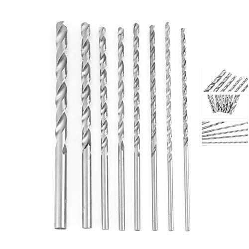 Drill Bit Set, 4-10mm Extra Long High Speed Steel Straight Shank Twist Durable Drill Bit Tool Hand Tool Machine Tool Assortment 8pcs