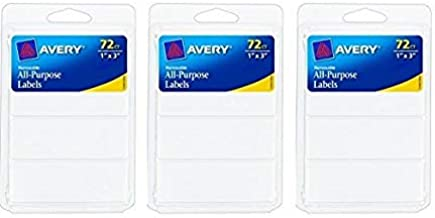 Avery Removable Writable Rectangular Labels, 1 x 3 Inch, White -  Pack of 3 (6728)