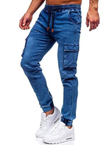 BOLF Homme Pantalon Jeans Jogger Denim Style Jogging Look usé Jambe étroite Détruit Taille Ajustable Slim Fit Casual Style HY893 Bleu Fonce L [6F6]