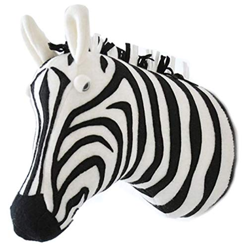 Luntus 3D Animal Head Wall Cute Stuffed Wall Hanging Toys Kids Room Animal Wall Sculptures-Zebra