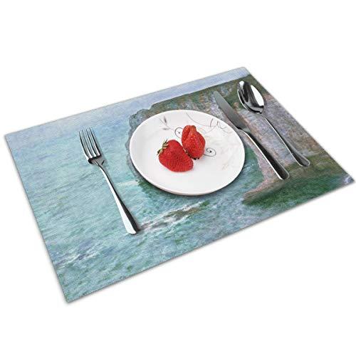 Tischsets, rutschfest, für Esstisch, Claude Monet, Impressionismus, Manne-Porte Étretat, waschbar, leicht zu reinigen, 30 x 45 cm, rechteckig, schmutzabweisend, langlebig