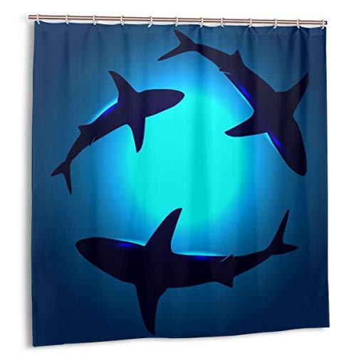 N/W Sea Floating Shark Duschvorhang Wasserdicht mit Haken Marineblau Ozeantiere Polyester Stoff Badvorhang 183 x 183 cm Badezimmer Vorhang