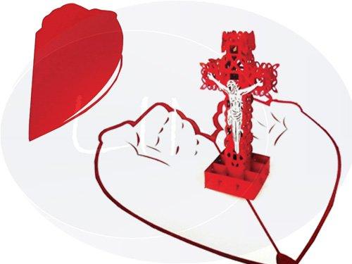 LIN POP UP Grußkarten 3D Karte Religion Kommunion Konfirmation Jesus Kreuz (#135)