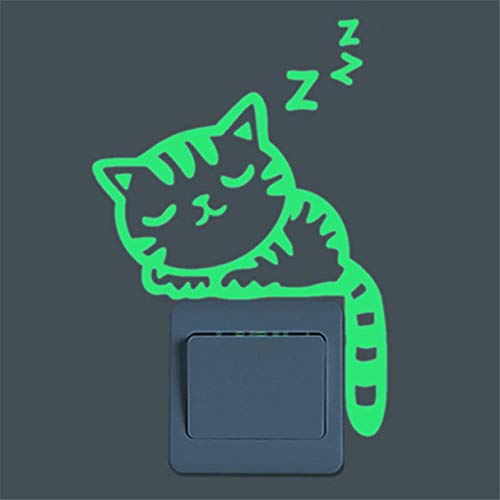 Hukz Leuchtsticker Kinderzimmer Wandaufkleber Wandsticker Nette Kreative Kätzchen Katze Glow Switch Wandtattoo Home Dekoration (A1)