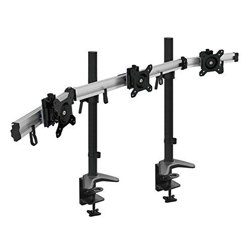 HFTEK 3-Fach-Monitorarm-Halterung Halter Tischhalterung für 3 Monitore von 15 – 34 Zoll mit Tisch-Klemmsystem - VESA-Lochmuster 75 / 100 (MP230C-XL)