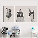 Animal Little Bird Bear Deer Canvas Canvas Cartoon Animal Posters para decoración de la habitación de los niños 50x70cm con marco gris