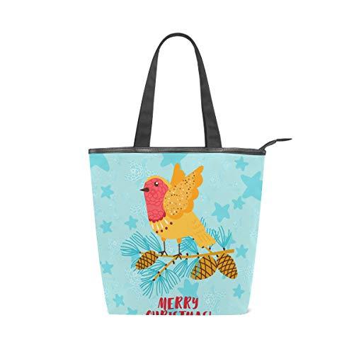 Jeansame Canvas Tote Bag Vrouwen Shopper Top Handvat Tassen Schouder Handtassen met Rits Kerstmis Nieuwjaar Winter Leuke Robin Vogeldier