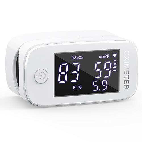 KKmier Saturimetro Pulsossimetro da Dito 3 in 1, Ossimetro Professionale Multifunzionale Monitor Portatile Misura di Frequenza Cardiaca(PR), Saturazione di Ossigeno(SpO2) e Indice di Perfusione (PI)