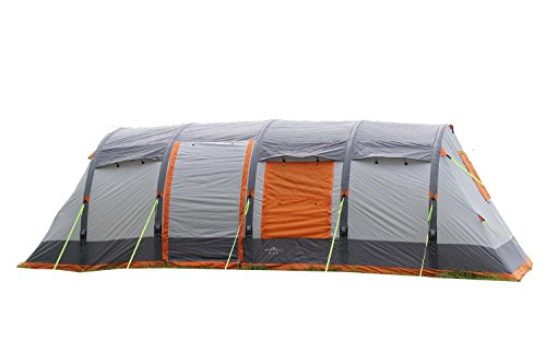 OLPRO Outdoor Leisure Products Wichenford Breeze Air Tent 7.2m x 3m 8 Berth Inflatable Family Tent Grey & Orange