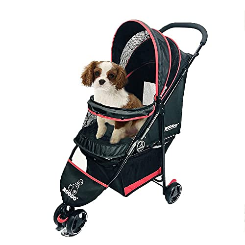 ROODO Pet Stroller Dog and cat pet Three-Wheeled cart - Lightweight, Compact, Portable, Practical, Removable, Change Color (Black +RED)