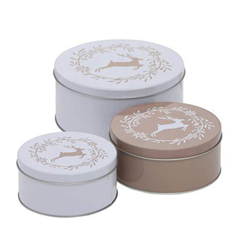 CasaJame 3er Set Metall Keksdose Plätzchendose Springender Hirsch weiß beige Sortiert H6-9cm