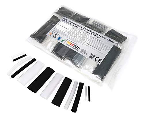 142-tlg. 3:1 mit Kleber Transparent-Schwarz Schrumpfschlauch Sortiment. Set mit einer Gesamtlänge von 8,3m in einem Plastikbeutel. Dank Heißkleberschicht auf der Innenseite wasserdicht.Von ISOLATECH