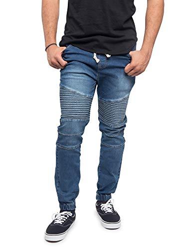 Victorious Men's Fashion Slim Fit Biker Denim Joggers Jeans JG873 - Indigo - Large - BB8H