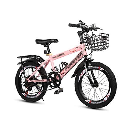 Kinderfahrräder Sport & Freizeit Student Mountainbike Frühlings-Sommer-Reise-Buggy 18, 20 Zoll Einfaches Tragbares Fahrrad Fahrrad Der Kinder (Color : Pink, Size : 18inches)