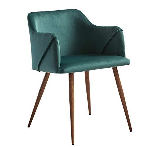 H.J WeDoo Silla Comedor de Terciopelo Moderna Sillón Retro nordica con Soft Velvet Cushion Asiento y Respaldo para sillas de Comedor y Sala de Estar,Verde Oscuro