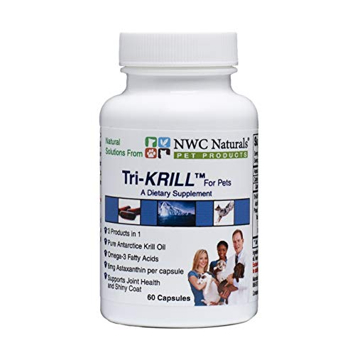 Tri-Krill Oil Capsule Supplement for Dogs and Cats, Supports Joint, Brain, Supports Healthy Skin and Coat, Pure Antarctic Krill with Astaxanthin, Omega-3, DHA, EPA by NWC Naturals