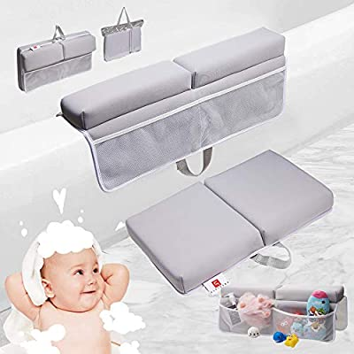[PRESIPIS]Bath Kneeler and Elbow Rest Baby Accessories–2.1inch Comfortable Extra Cushion–Bathtub Accessories for Baby–Padded Knee Cushion Mat for Mom and Dad–Strong Suction Cups–Two-Side Mesh Pockets