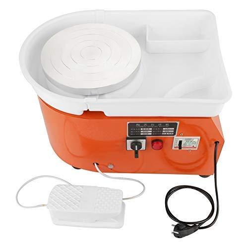 GOTOTOP 350W Máquina de Ruedas de Cerámica Naranja Herramienta de Conformación de Cerámica Lavabo con Pedal,Color Naranja