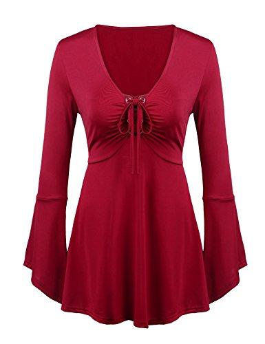 Grabsa Women's Bell Sleeve Empire Waist A Line Flowy Tunics Blouses Wine Red XX-Large