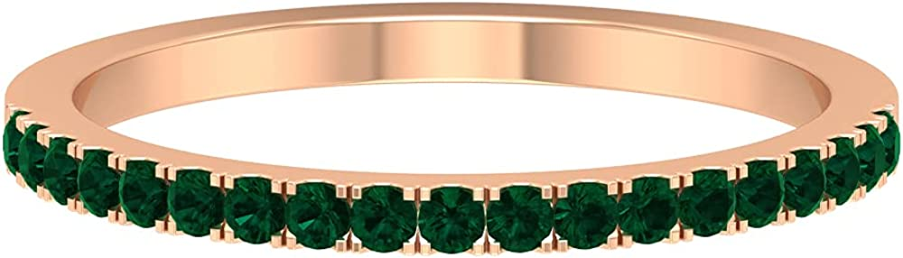 October Birthstone - 1/4 CT Stackable Green Tourmaline Half Eternity Ring (AAA Quality), 14K Solid Gold