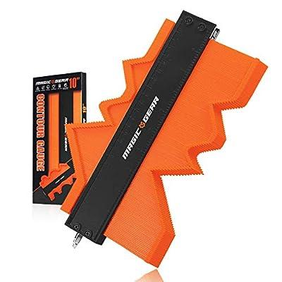Contour Gauge (10 Inch Adjustable Lock) Profile Tool - Home Super Woodworking Tool - Must Have For Men - Marking Duplication Gauge - Outline Ruler – Scribe & Angle Measuring Tool