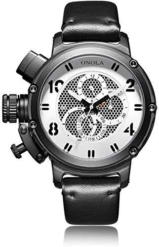 Reloj casual para hombre s impermeable automático mecánico de cuerda manual con correa de piel de becerro reloj de pulsera de cara grande para hombres C-B