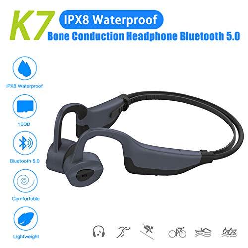 TYYW Schwimmen-MP3-Player, Bluetooth 5.0 mit 16 GB MP3 Player IPX8 Wasserdichten Schwimmen Outdoor Fitness Sport-Kopfhörer MP3-Musik-Player,Grau,No Memory