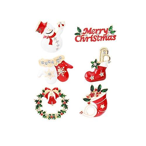 ZBOMR Christmas Brooch Pin Set, 6pcs Cute Crystal Enamel Christmas Decorations Ornaments Gifts with Santa Claus,Snowman,Wreath, Santa Stocking,Gloves,Merry Christmas Pins Set for Women Girl (6PCS)