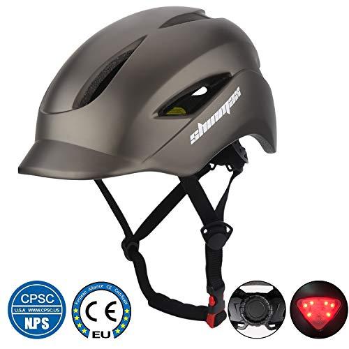 Shinmax Casque de vélo avec Casque de vélo certifié CE et Casque de sécurité arrière léger Ajustable pour Homme et Femme adultes, Montagne/Route/Tour (Titane)