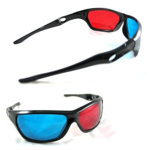 393045d1ddf Gioiabazar Red Blue Cyan Plastic 3D Reusable Sporty General Glasses For TV  Movie DVD (Pack