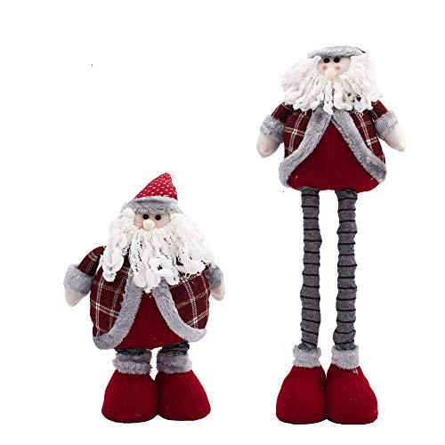 Carnavalife Muñeca Grande de Navidad, Figuras Papá Noel/Nieve de Peluche, Gnomo Elfo de Pie para Decoraciones Navideñas Altura Ajustable (FYQ-468-ROJO/58CM)