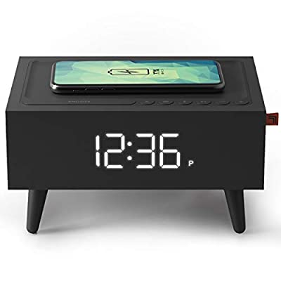 Sharper Image Clock Radio with Wireless Qi Phone Charger with Interchangeable Legs and Backup Battery