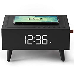 SHARPER IMAGE Clock Radio with Wireless Qi Phone Charger, Midcentury Modern Bluetooth Alarm Clock with Interchangeable Legs and Backup Battery, Wake to Alarm or FM Radio