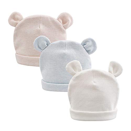 JANGANNSA Cotton Newborn Baby Girls Hat Spring Newborn Boys Hat Cute Bear Infant Beanie (White+Blue+Khaki, 0-6M)