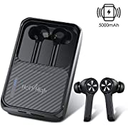 HolyHigh Headphones Bluetooth 5.0 Wireless Earphones 240H Playtime 5000mAh Wireless Fast Charging Modes Earbuds Waterproof Bluetooth Headphones with Mic for iOS Android